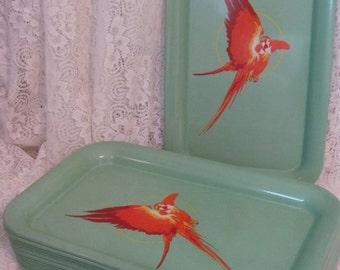 Set of 4 Vintage Metal Trays - Bright Orange Parrots on Retro 50s Green