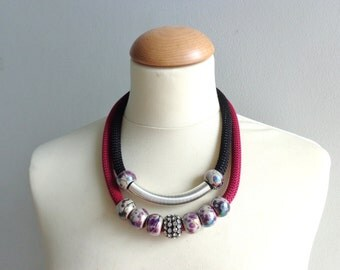 Burgundi black chunky statement necklace, silver rhinestones necklace