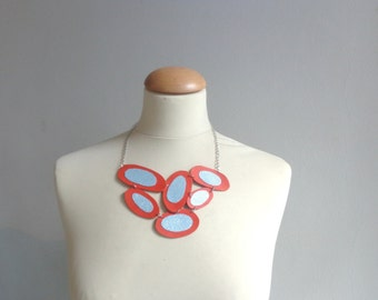 Red light Blue silver leather  bubbles geometric necklace
