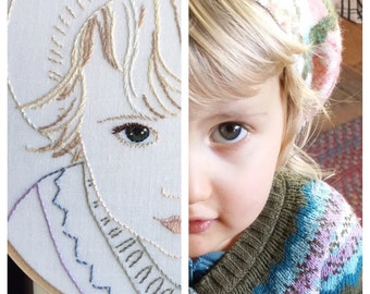 Custom hand embroidered portrait of your child - hand embroidery hoop art, bo betsy, bobetsy, mothers day, portrait art, home decor, special