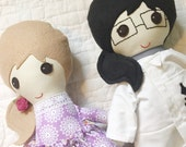 Reserved for Julianna- two custom dolls - handmade fabric dolls- soft dolls - scientist flower dress