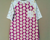 shortees knockout dress - daisies and dots - raglan baseball sleeves -available in infant & big kid sizes