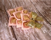 Pink and Gold Peacock bow infants Toddlers Girls