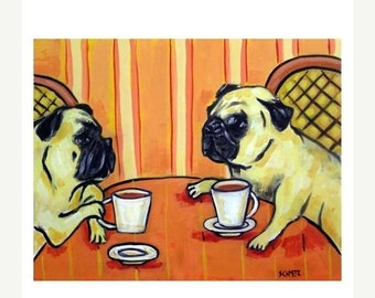 ON SALE Pug at the Cafe Dog Art Print