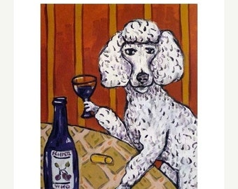 Poodle at the Wine Bar Dog Art Print