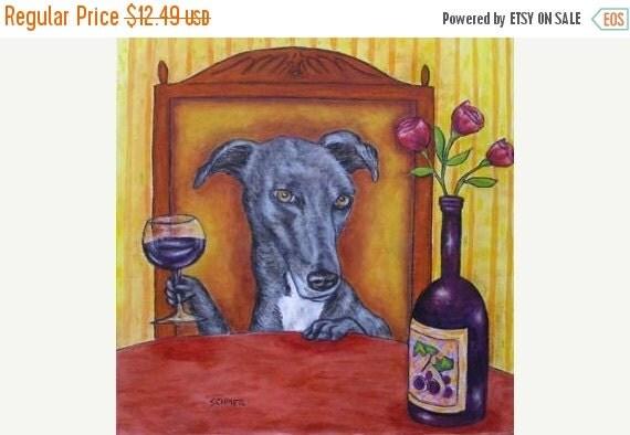 10% off SALE greyhound dog, greyhound art - greyhoung print on tile, greyhoung tile, wine, wine art, wine tile, modern dog art, dog