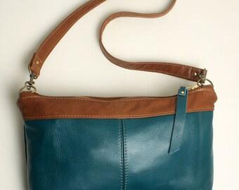 Teal Blue Leather Cowhide Shoulder Handbag with Saddle Brown