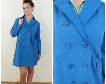 20% OFF SALE 70s SEARS Teal Double Breasted Lightweight Spring Coat, Size Large to Xl