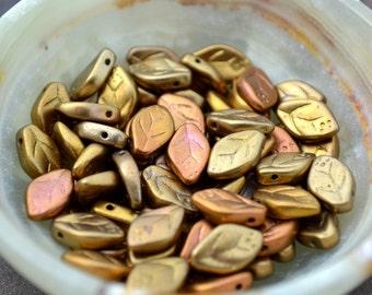 Gold Silk Leaf Beads  12