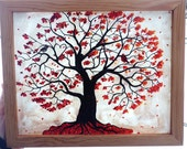 Heart Within the Branches of a Red Maple Tree with a Male and Female cardinal and Nest Framed Glass and Polymer Clay Art Illustration