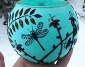 Dragonfly and Wildflower Silhouette Candle Holder made from Recycled Glass and Polymer Clay in Light Turquoise