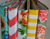 "1"" MINI oilcloth binder with cover // 1"" half sheet planner dayplanner recipe organizer A5 three ring calendar // chevron stripe floral dot"
