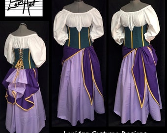 Esmeralda Inspired Under Bust Corset, Bustle, Top, Sash and Skirt - by LoriAnn Costume Designs - Custom