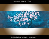 """Art painting Original oil Abstract pink flower tree wall art wall decor Canvas art wall hangings """"Gentle Breeze"""" by qiqigallery"""