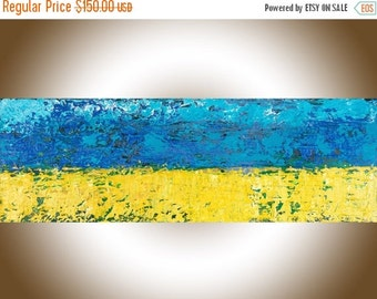 """Colorful abstract oil painting original artwork canvas art wall art wall decor blue yellow green """"The corn filed"""" by QiQiGallery"""