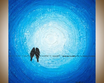 """Blue painting square art Heavy Texture wall decor wall art canvas painting gift for couples Love Birds on a wire """"Moonlight"""" by QIQIGALLERY"""