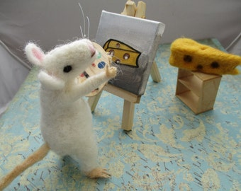 Say Cheese Needle Felted Artist Mouse