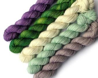 Mini Skein Set Glimmer Sock, 5 x 87 yards, Wild Violets
