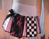 Sequoia,NEW Goth,Punk,Rock black pink red green rainbow stripes spots butterflys skulls check pirates  skirt-All sizes
