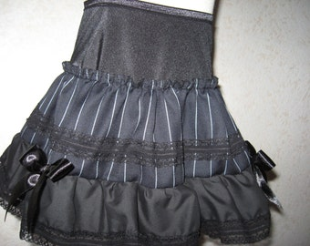 Sequoia  NEW black grey pinstripe Lace Frilly Skirt Party All sizes Plus size steampunk goth rock gift