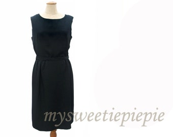 Vintage 1950s 60s Dress Black Sheath Dress Sleeveless Pencil Skirt LBD Black Cocktail Dress with Belt Sexy Black Dress size Medium Large