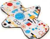 """Reusable Cloth Menstrual pad-  9 inch light flow -bamboo/organic cotton core- Windpro - cotton flannel top """"Science"""""""