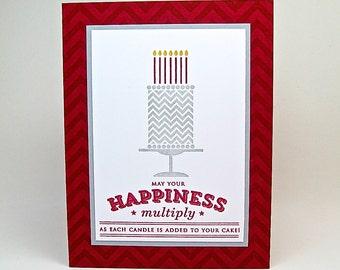 birthday card for a man - masculine birthday card - birthday cake card - red birthday card