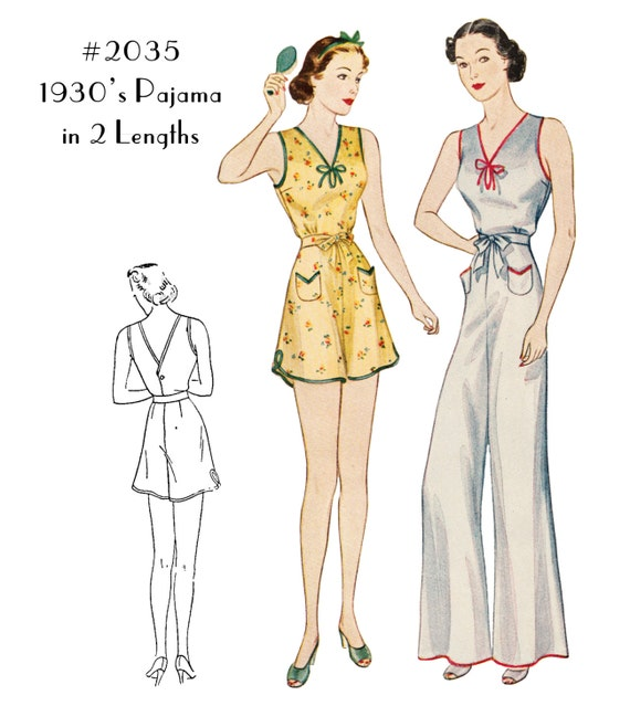 Vintage Inspired Nightgowns, Robes, Pajamas, Baby Dolls 1930s Pajamas in 2 Lengths #2035 - INSTANT DOWNLOAD $11.00 AT vintagedancer.com