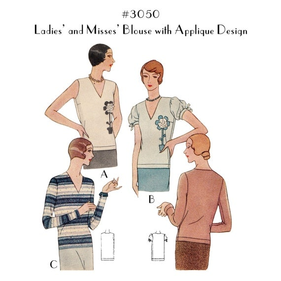 1930s Fashion Colors & Fabric 1920s 1930s Blouse & Applique #3050 - INSTANT DOWNLOAD $9.50 AT vintagedancer.com