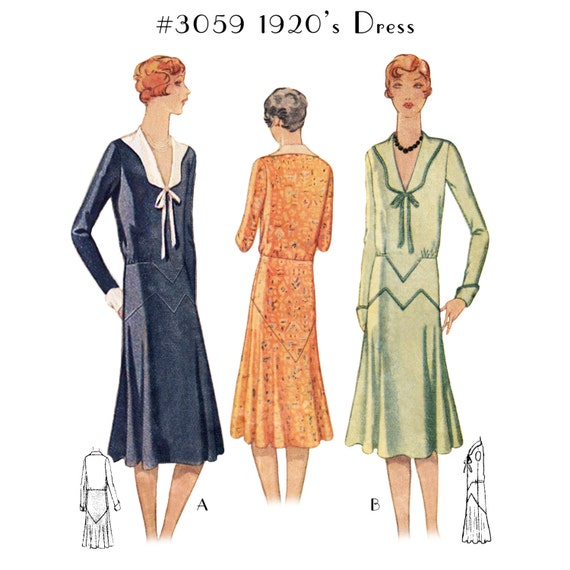 1920s Patterns – Vintage, Reproduction Sewing Patterns  1920s Dress #3059 - INSTANT DOWNLOAD $9.50 AT vintagedancer.com