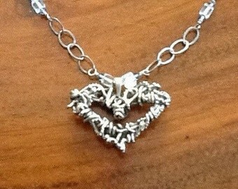 BELOVED Necklace Sterling Silver with Swarovski Crystal and Quartz Crystal Beads