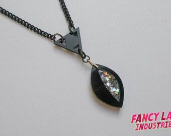 Eye Necklace - Black Sparkle