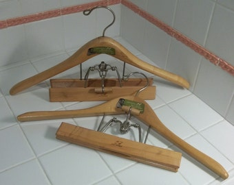 Pr Vintage SETWELL Wooden Mens Contour Combo Hangers~Orig Paper Labels! AS-NU