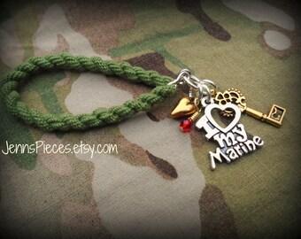 BRACELET: I Love my Marine boot band blouser bracelet SSG81 Army navy air force Marines National Guard usmc usaf usn sailor military arng