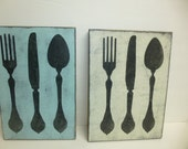 STORE CLOSING 50% off SIGN / Silverware sign / hand painted sign / big silverware sign / giant fork  spoon / kitchen wall decor / silverware