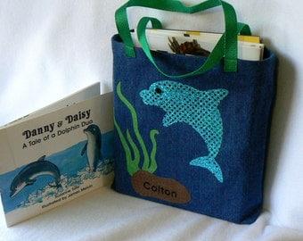 Kids Dolphin Tote Bag|Personalized Book Bag|Birthday Party Gift Bag|Halloween Princess Bag|Toddler Tote Bag|Preschool Book Bag|Kindergarten