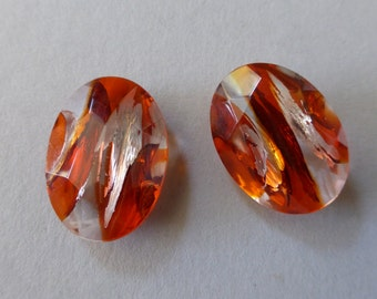 Czech Translucent Fire Opal with Glittery Silver Foil Striations Faceted Oval Glass Jewel 25x18mm (2)