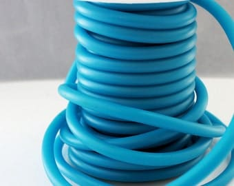 Rubber cord 5mm Cerulean blue , hollow tubing, by the yard