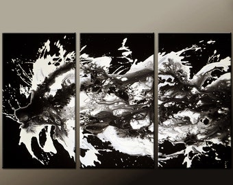 Abstract Canvas Art Painting Huge 3pc 54x36 Original Black & White Art by Destiny Womack - dWo -  UNTAMED