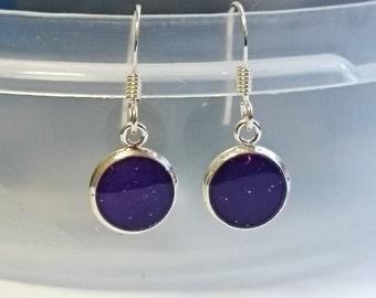 Tiny Purple Drop Earrings