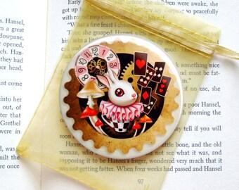 Bunny Time Pocket Mirror  - 3 inches Round - Steam Punk Alice in Wonderland, White Bunny Pocket Mirror w/ Organza Bag