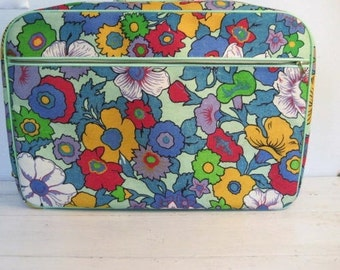 Vintage Bright Mod Floral Suitcase Carry-On with Key- Made in Japan