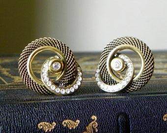 Vintage unmarked Ermani Bulatti clip earrings rope gold style rhinestones dramatic