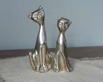 Vintage mid century modern tall stretched stretch siamese cats