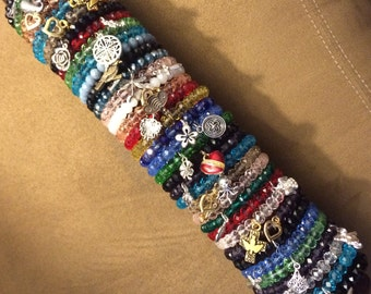 Set of 5 Stacking Bracelets, Glass and Charms