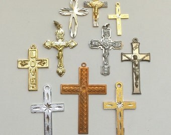 """Lot of 10 Vintage Crosses/Crucifixes from 70's & 80's, 1""""-2"""" Long"""