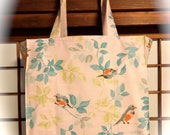 Robin Tote Bag, Wild Birds on Pink TIGHT 'n' TIDY Tote Bag, Reusable Folding Shopping Bag, Pink Blue Green Gray Woodland Birds and Leaves