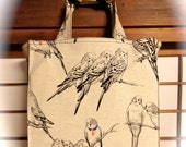 Parakeet / Budgie / Cockatoo in Pen and Ink / Budgies / Parakeets TIGHT 'N' TIDY Tote Bag Reusable Shopping Bag