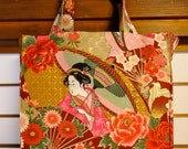 Geisha Tote Bag, Japanese Geishas Cranes Flowers 2 TIGHT 'N' TIDY Tote Bag, Folding Shopping Bag, Market Tote, Eco Bag, Gold Pink Green