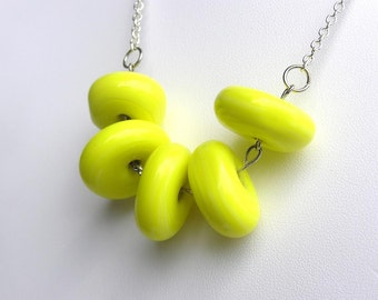 Chunky Yellow Necklace - Yellow Bead Necklace - Short Yellow Necklace - Summer Necklace - Bold Necklace - Statement Necklace -Glass Necklace